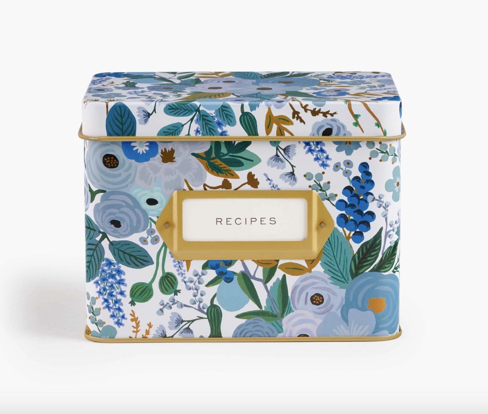 the tin in floral blue