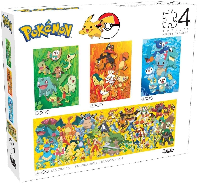 a set of four pokemon puzzles