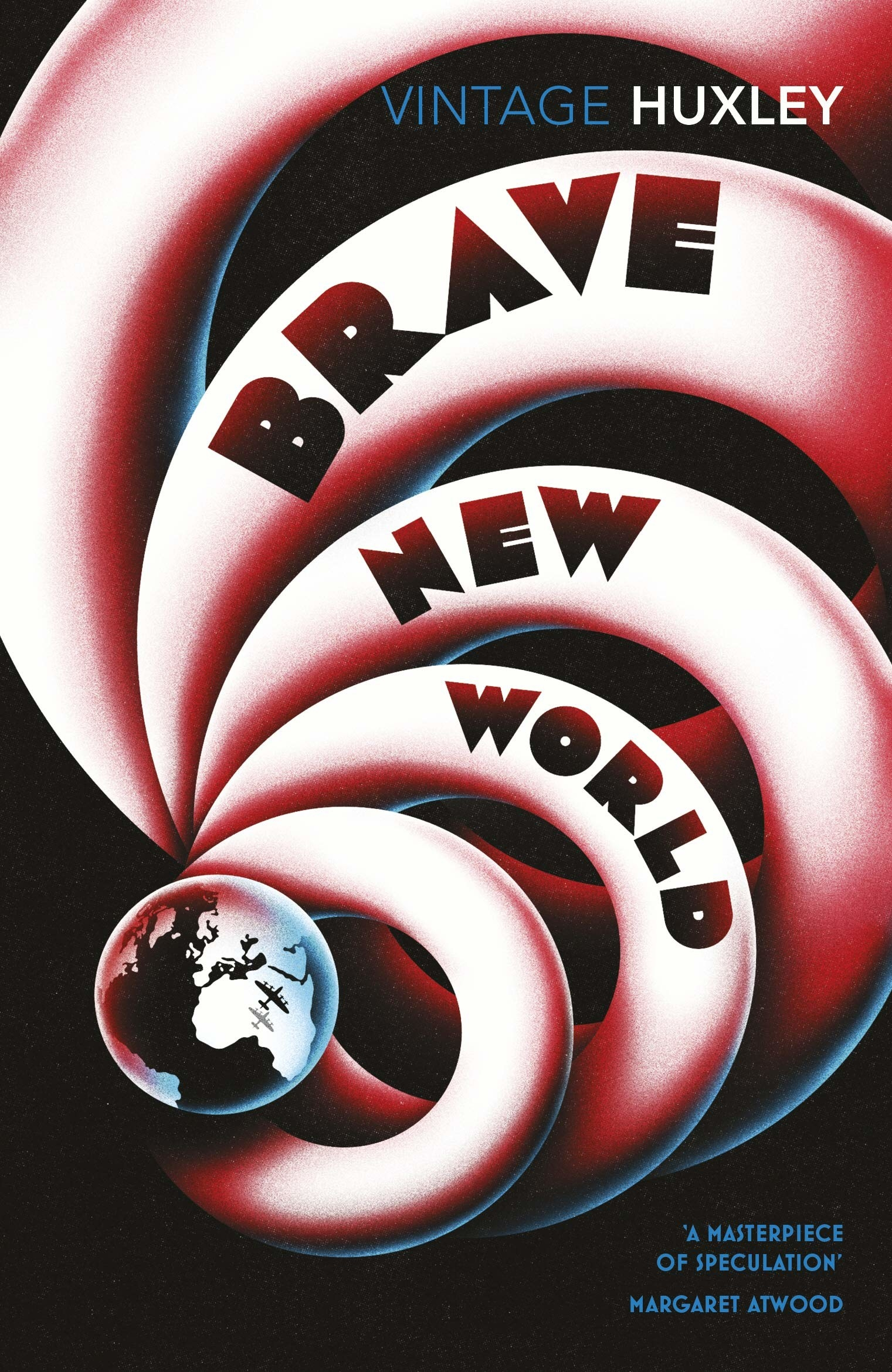A globe with 3D rings lined up behind it on the book cover for Brave New World
