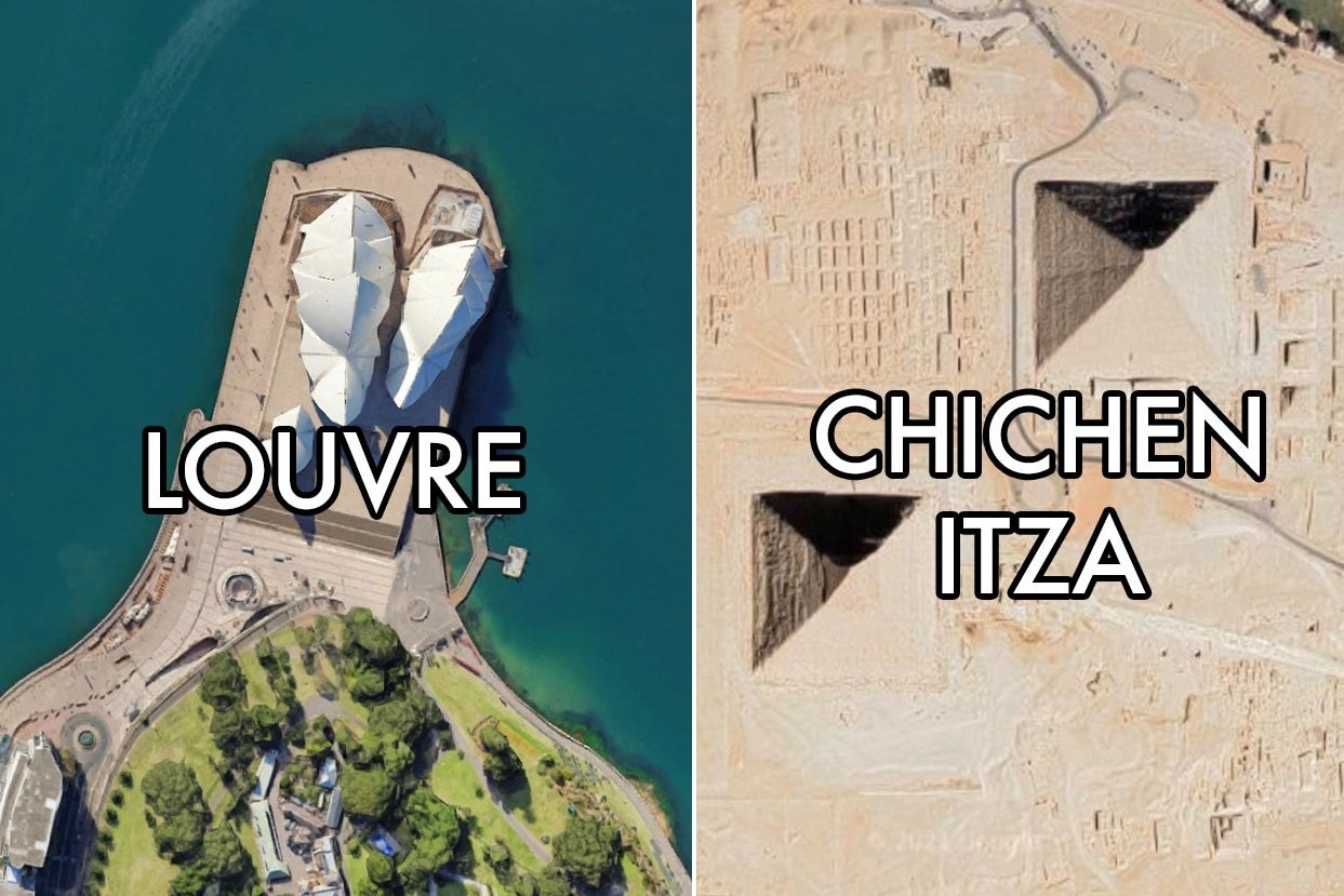"""Two iconic landmarks with """"Louvre"""" and """"Chichen Itza"""" labels on them"""