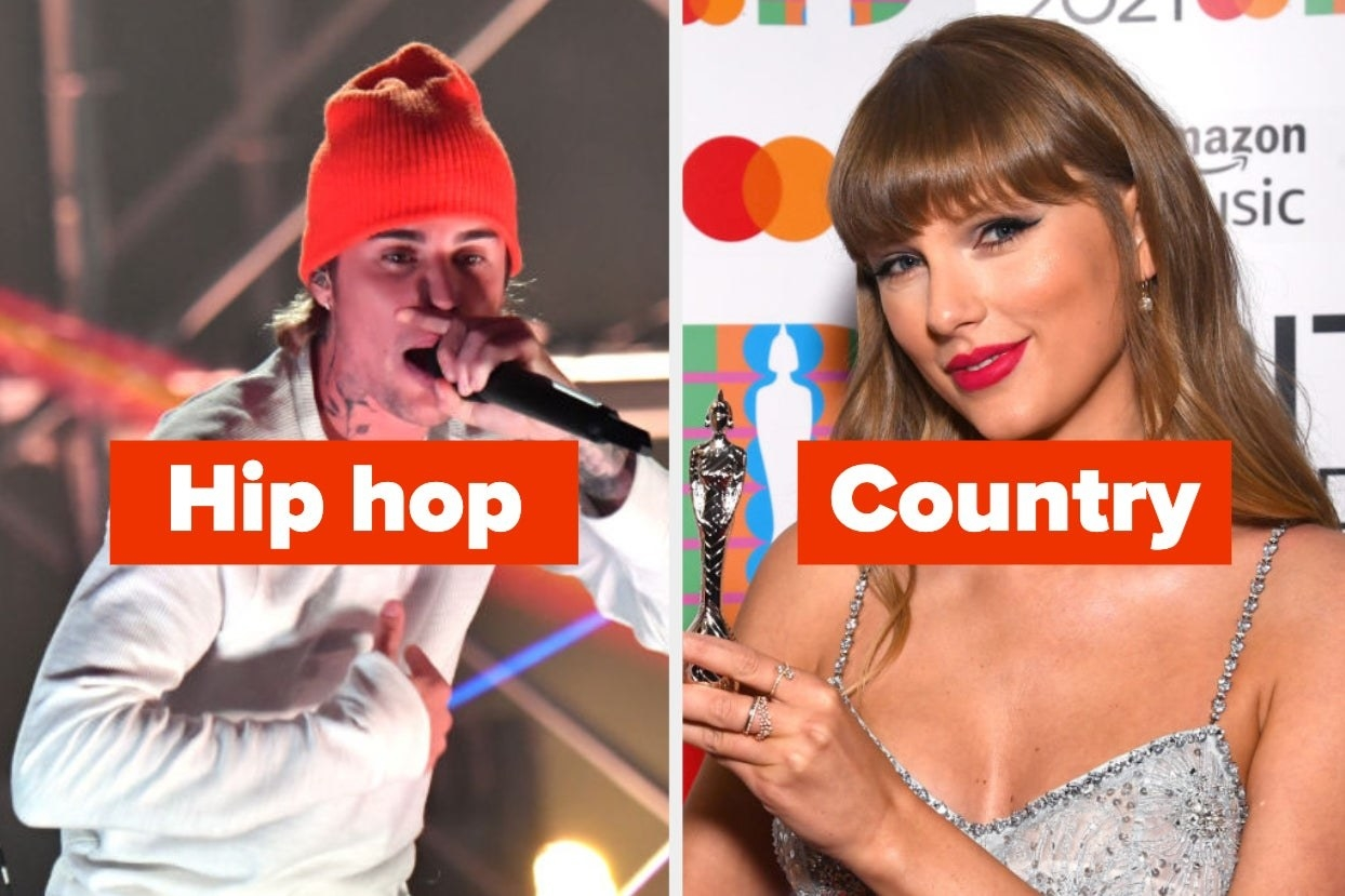 """Justin Bieber with the words """"hip hop"""" and Taylor Swift with the word """"country"""""""