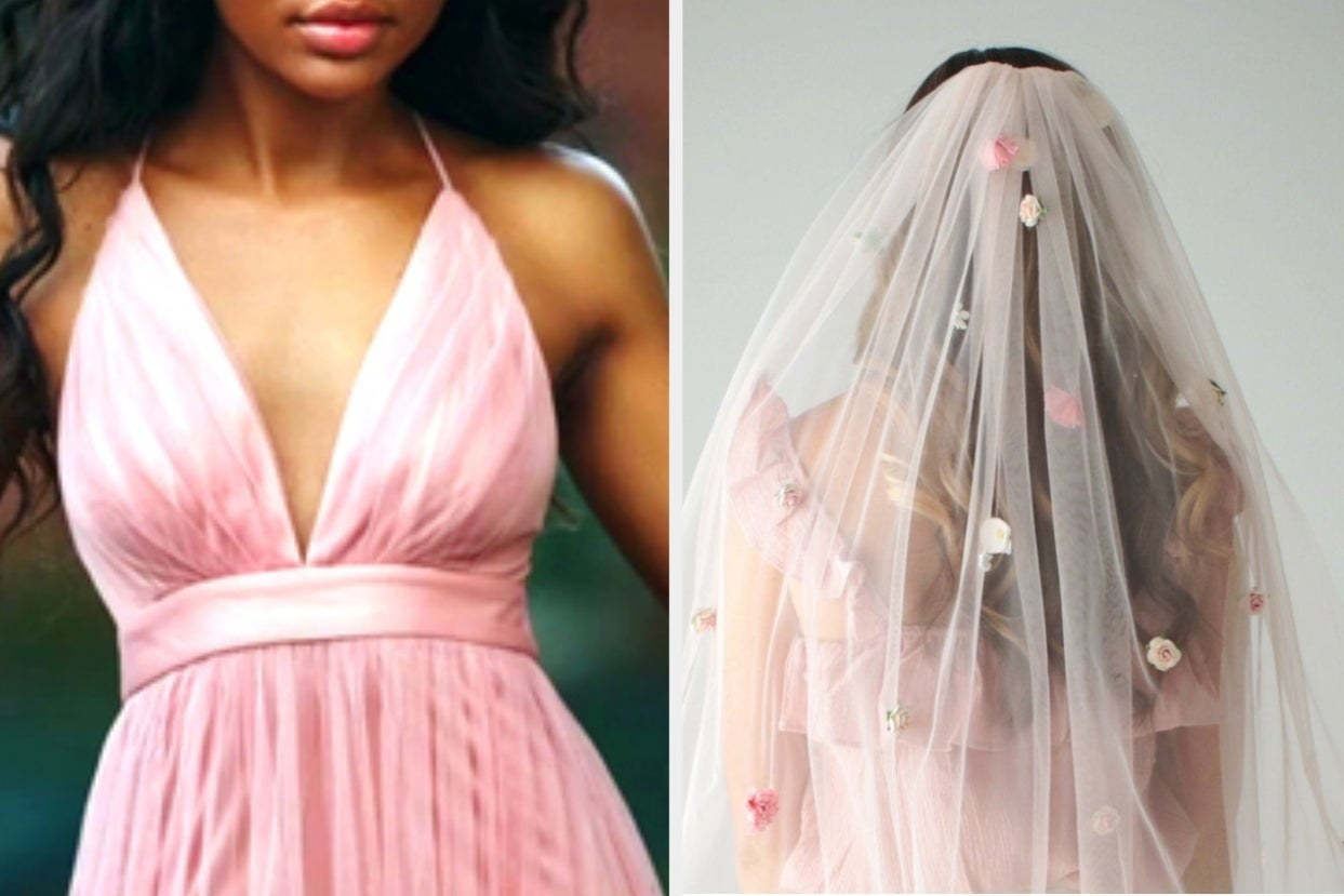 Pink dress and pink floral veil