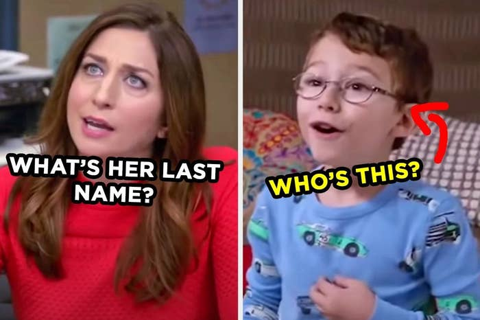 """Brooklyn Nine-Nine characters with the words """"What's her last name?"""" and """"who's this?"""""""