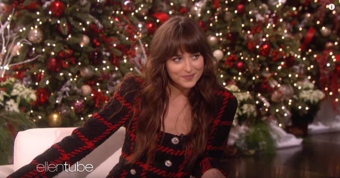 Dakota Johnson being interviewed by Ellen