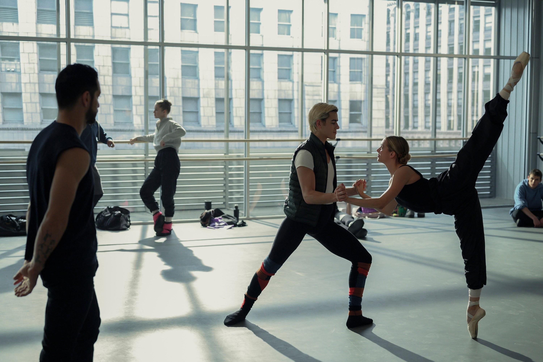 Bayardo De Murguia watches Brennan Clost and Casimere Jollette practice ballet