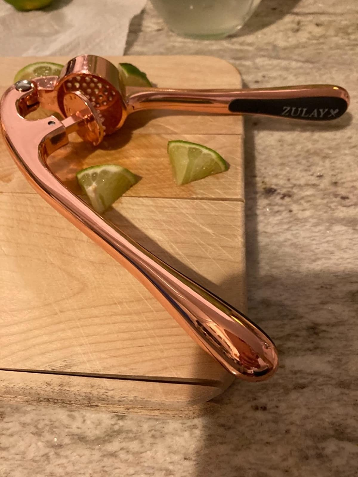 A reviewer photo of the press in rose gold