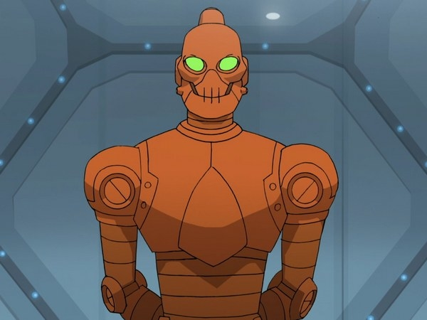 A robot with glowing eyes