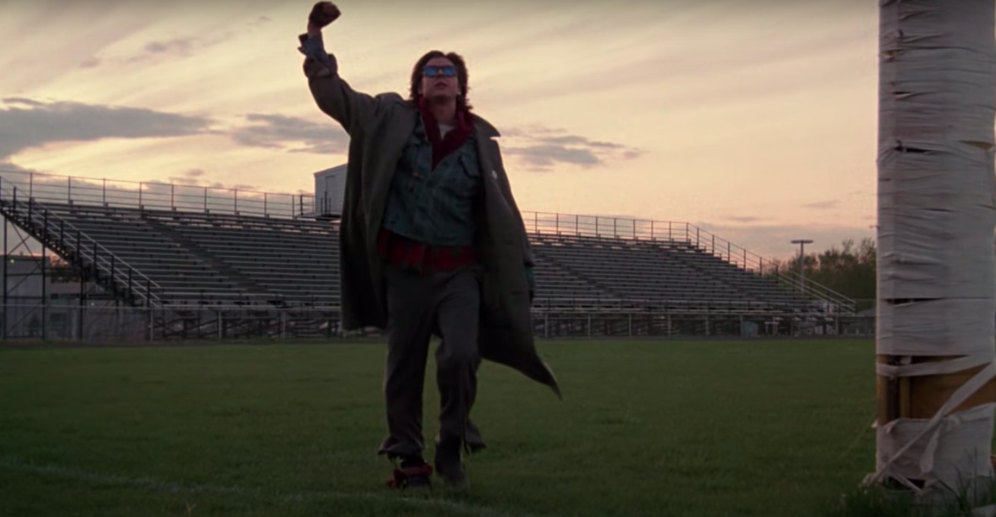 """Bender with his fist in the air at the end of """"The Breakfast Club"""""""