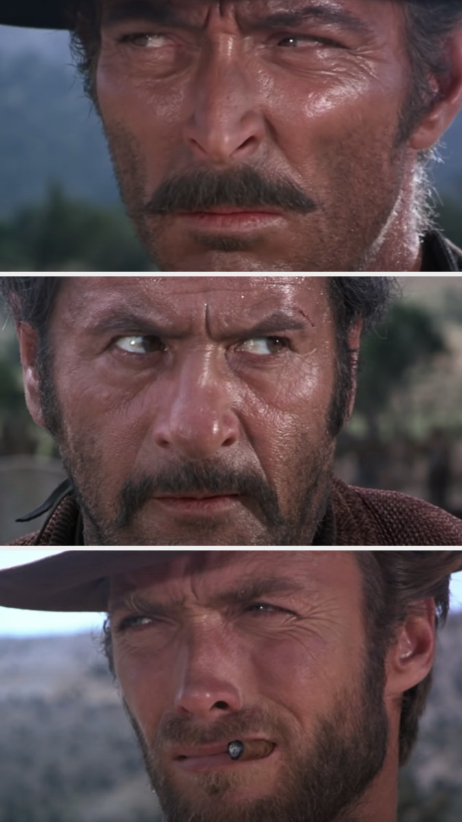 Close-ups of Tuco, Angel Eyes, and Blondie looking at each other