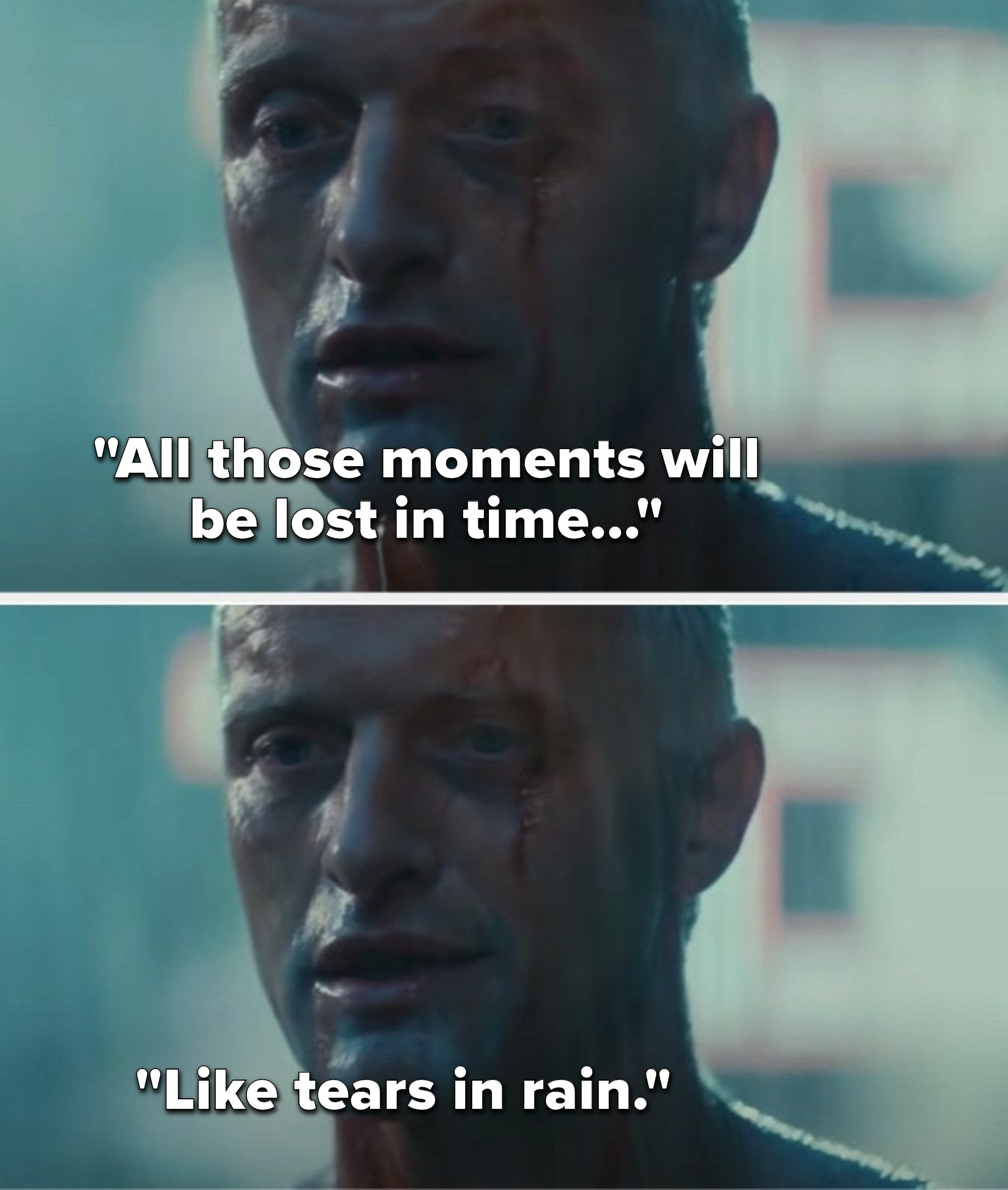 """Roy Batty says, """"All those moments will be lost in time, like tears in rain"""""""