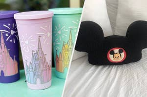 to the left: tumbler cups with the disney castle on them, to the right: a mickey mouse ear hat pillow