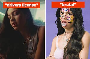 """Olivia Rodrigo is on the left playing a piano labeled, 'drivers license"""" and on the right labeled, """"brutal"""""""