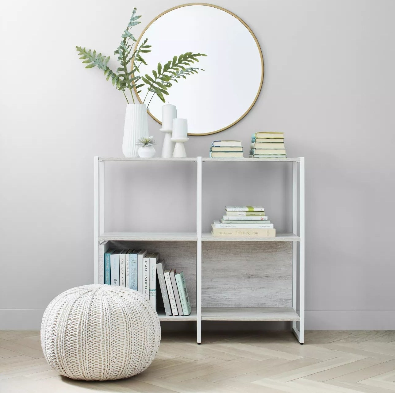 The white and gray bookcases