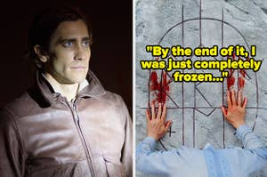 """Nightcrawler side by side with Midsommar with text reading """"By the end of it, I was just completely frozen"""""""