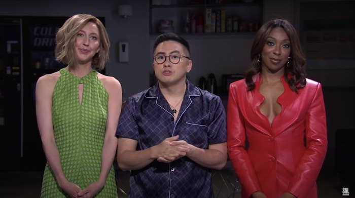 Heidi Gardner, Bowen Yang, and Ego Nwodim on the SNL stage