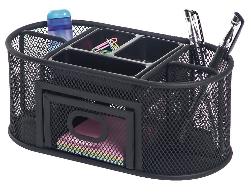 The organizer with compartments for pens, pencils, notepads, paper clips, and more