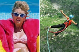 Taylor Swift is in a floaty on the left with a person bungee jumping on the right