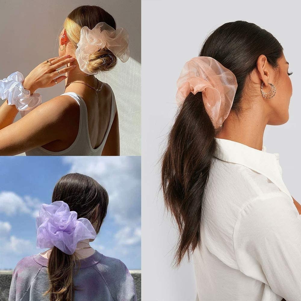 Three people with gauzy scrunchies in their hair
