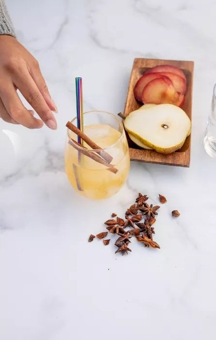 The cocktail straw in a drink