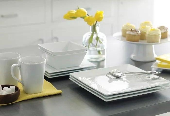The square, white dinnerware