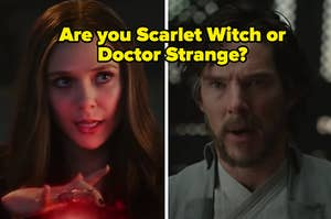 """Scarlet Witch is on the left with Doctor Strange on the right labeled, """"Doctor Strange"""""""