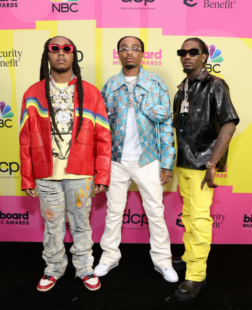 (L-R) Takeoff, Quavo, and Offset of Migos pose backstage for the 2021 Billboard Music Awards