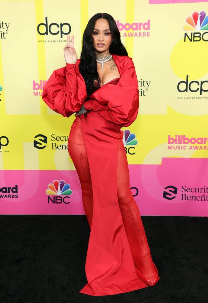 Kehlani poses backstage for the 2021 Billboard Music Awards