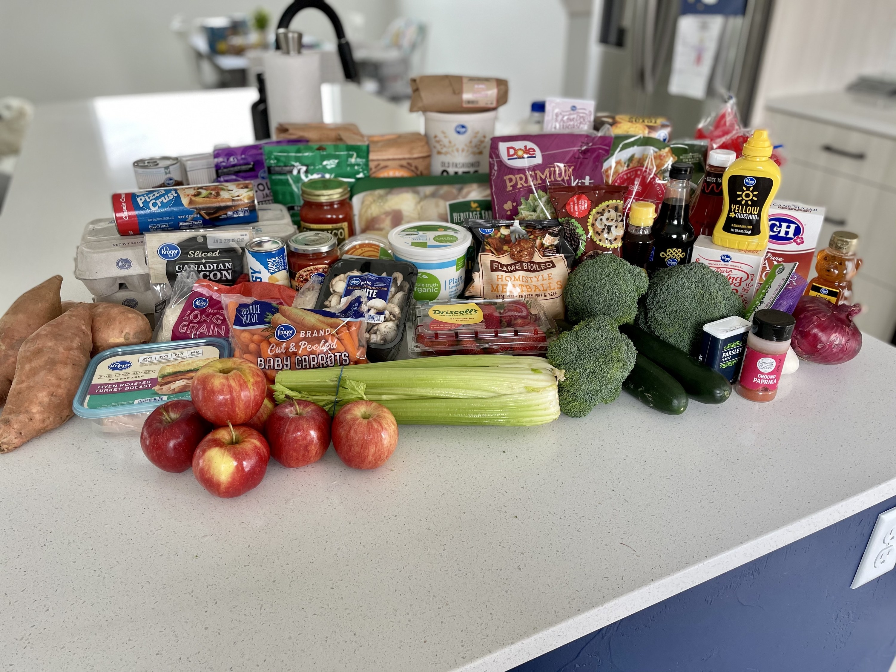 Groceries laid out on the counter