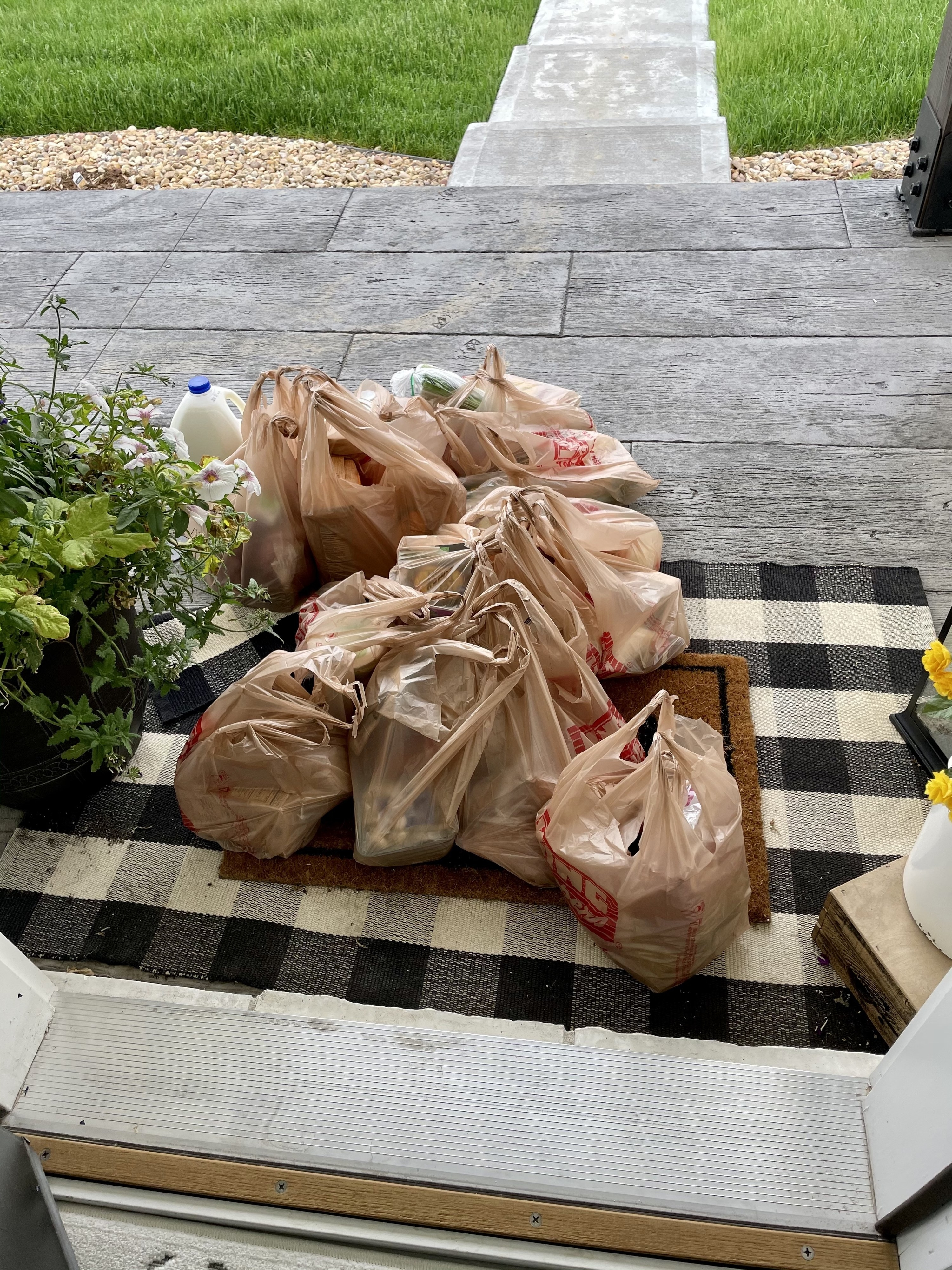 Delivered groceries on a doorstep