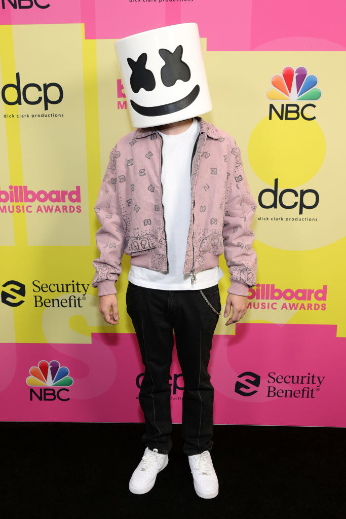 Marshmello poses backstage for the 2021 Billboard Music Awards