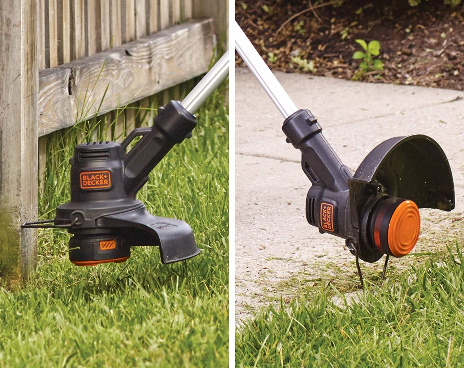 the trimmer used as a trimmer and an edger for grass