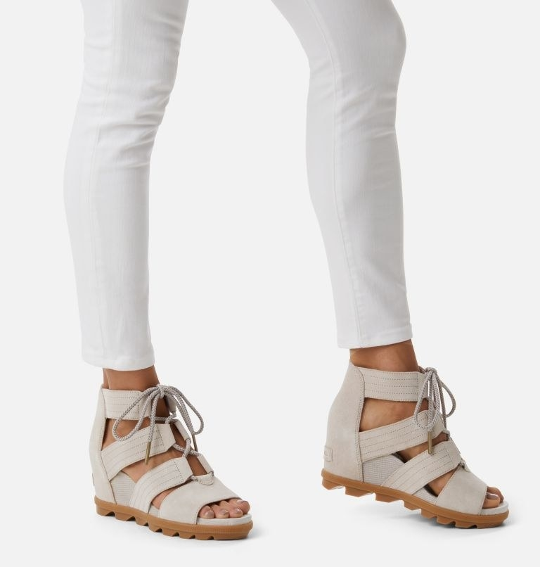 the wedge lace-up sandals in beige