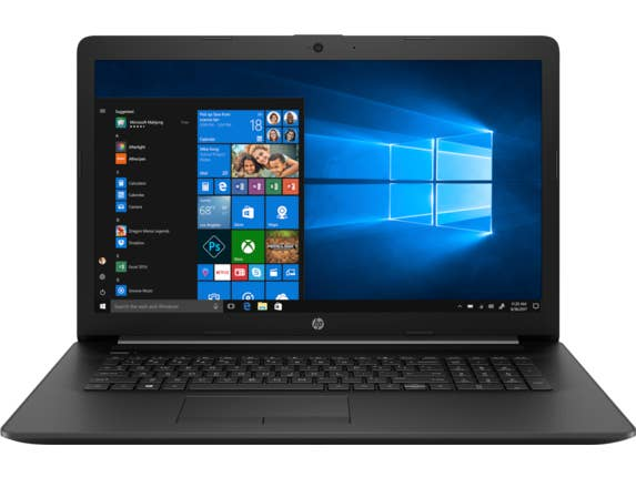 a black HP laptop