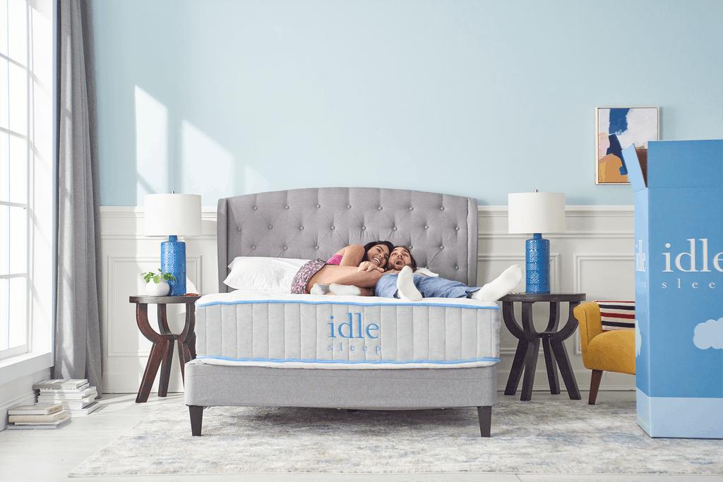 two model on a hybrid mattress
