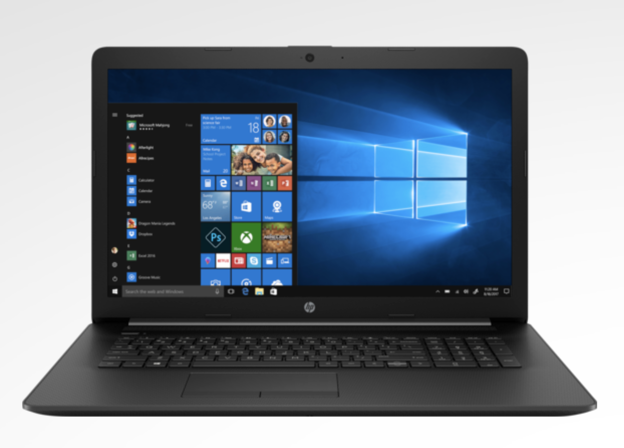 A black laptop open to show applications on the screen