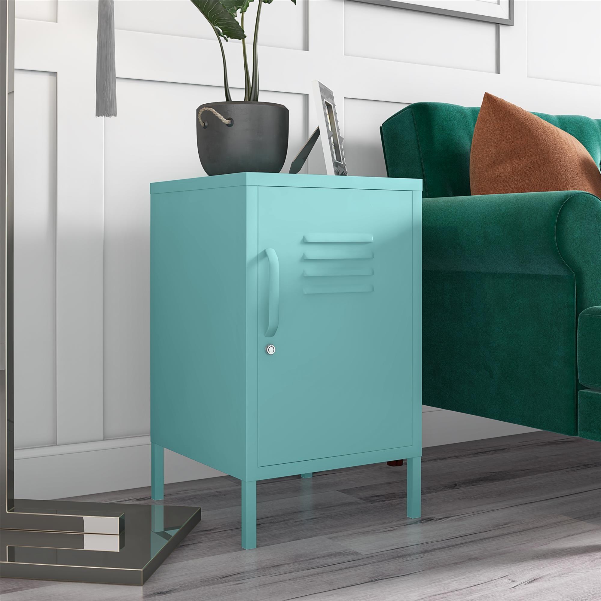 metal end table shaped like locker