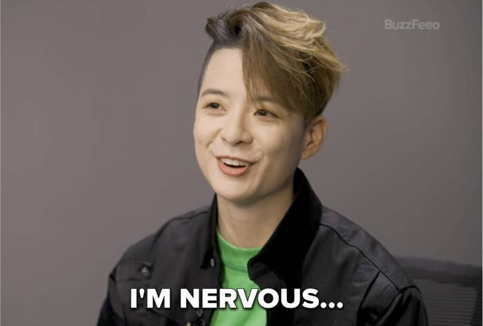 """Amber with the caption """"I'm nervous..."""""""