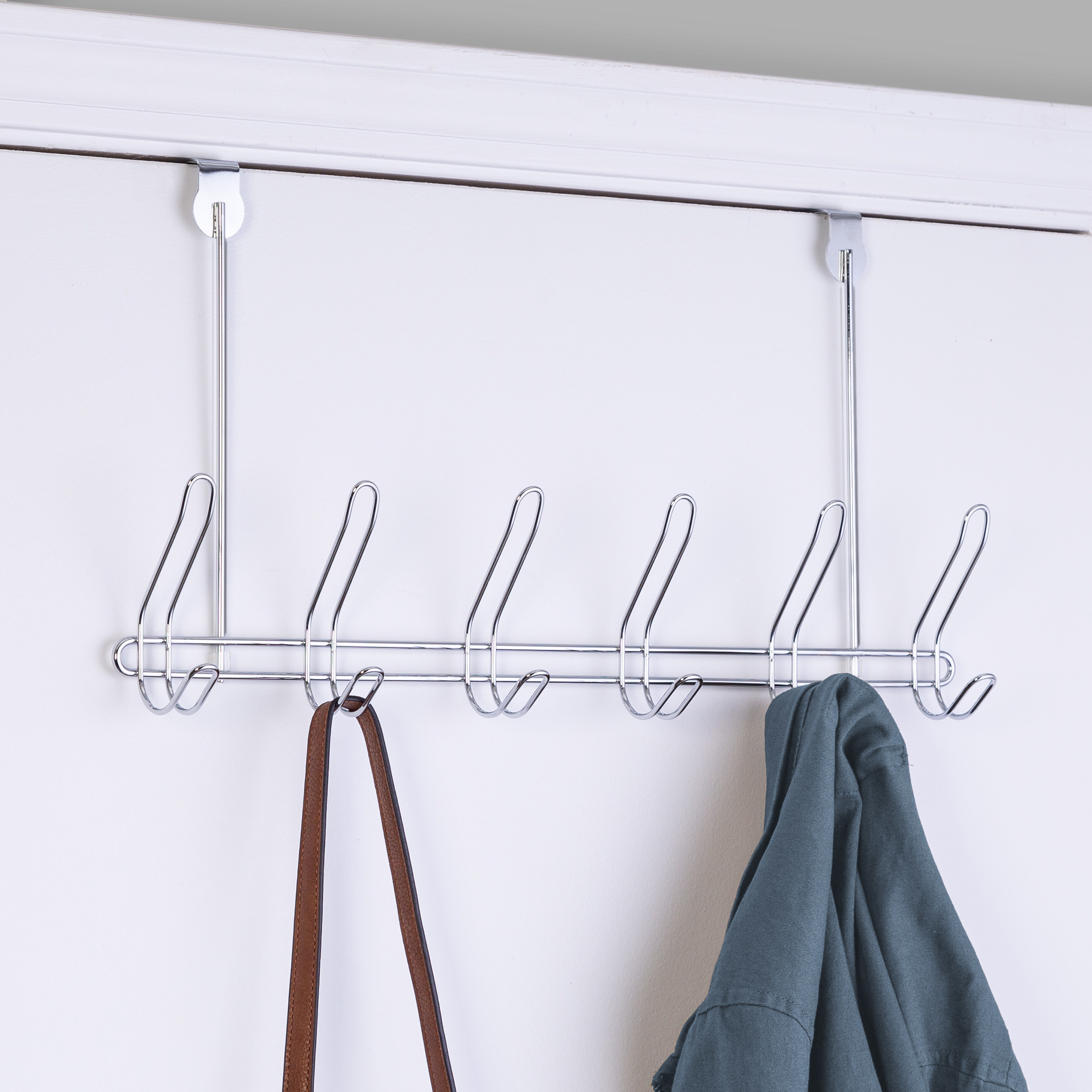over the door stainless steel hanger with six racks to hold purses and coats