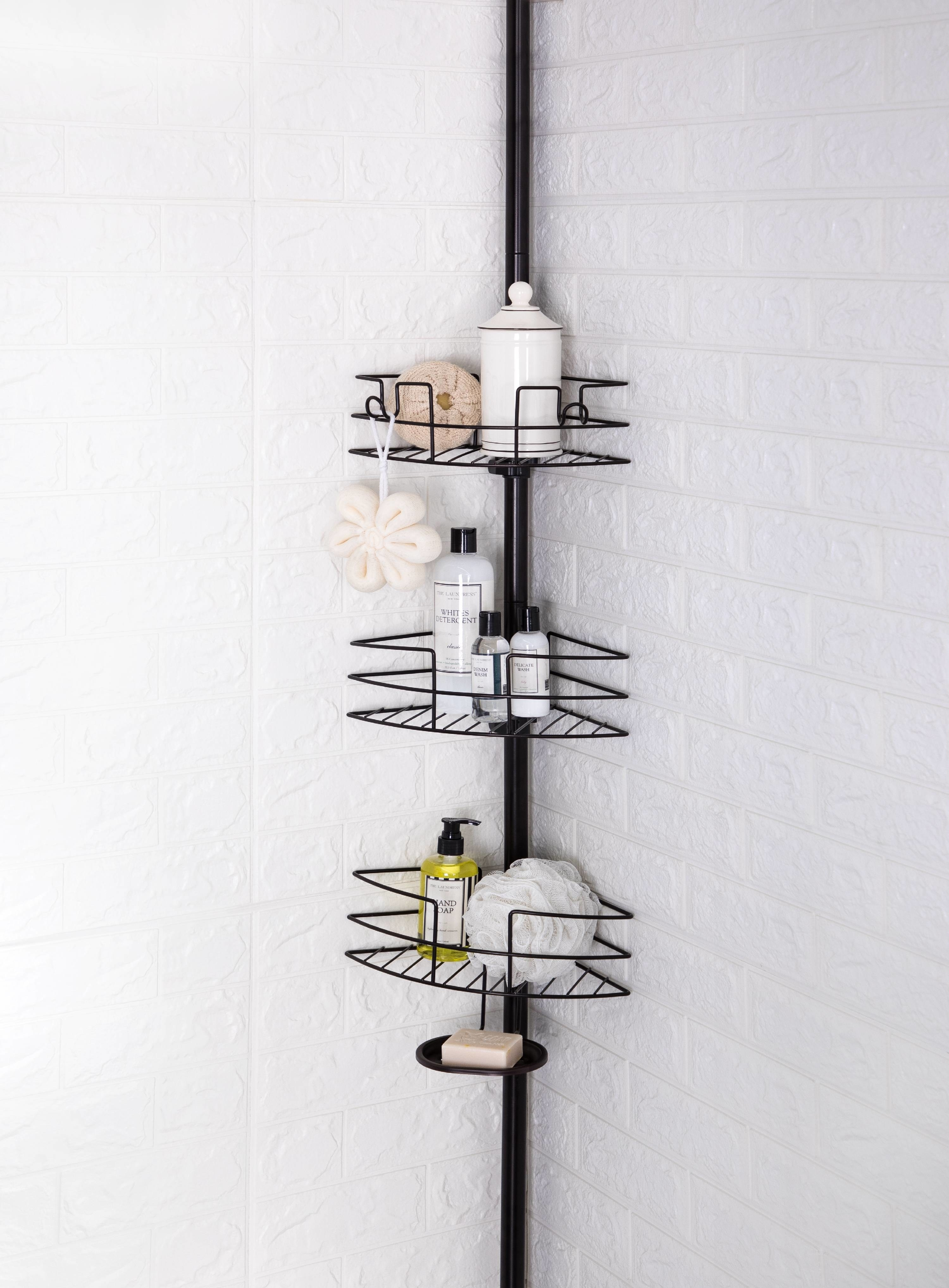black shower caddy with three adjustable shelves and a soap dish