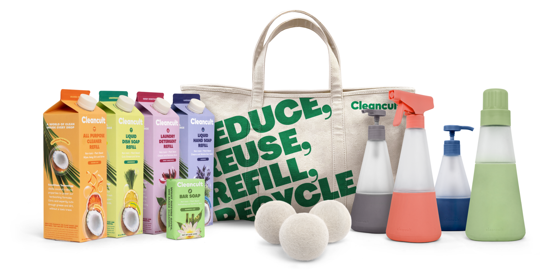 the cleaning bundle with bottles and refills