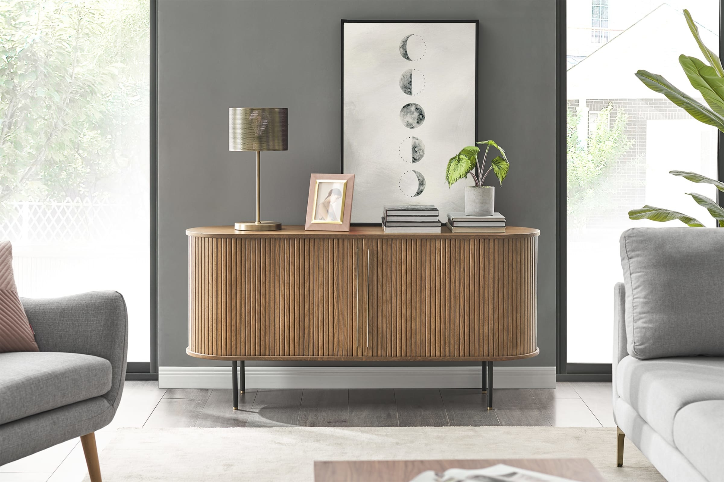 a curved console table