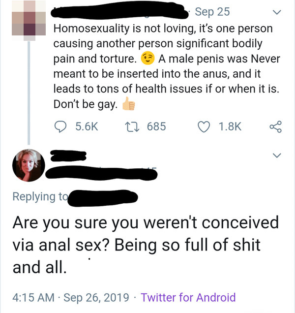 person who says anal sex is a sin and then another person says you must be concieved via anal