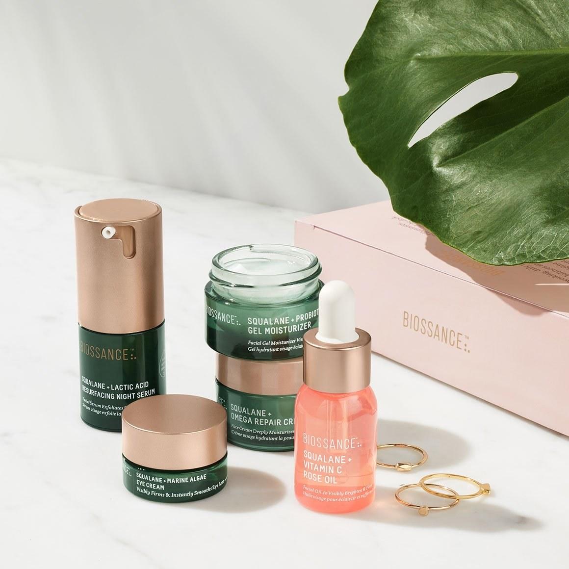 the set with a mini night serum, face oil, eye cream, gel moisturizer, and repair cream
