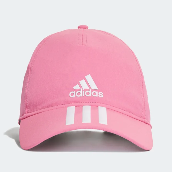 A pink hat with white adidas embroidery