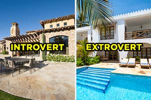 """On the left, the back of a brick villa with an outdoor dining table labeled """"introvert,"""" and on the right, the exterior of a modern home with a pool out back and palm trees surrounding it labeled """"extrovert"""""""