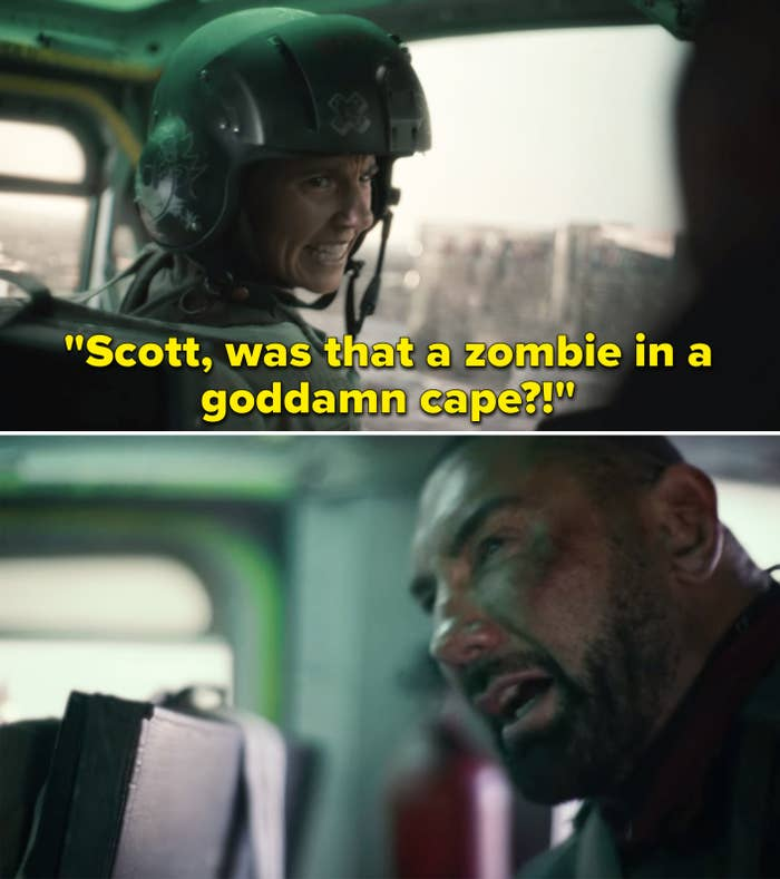 """Tig's character asking """"Scott, was that a zombie in a goddamned cape?"""""""