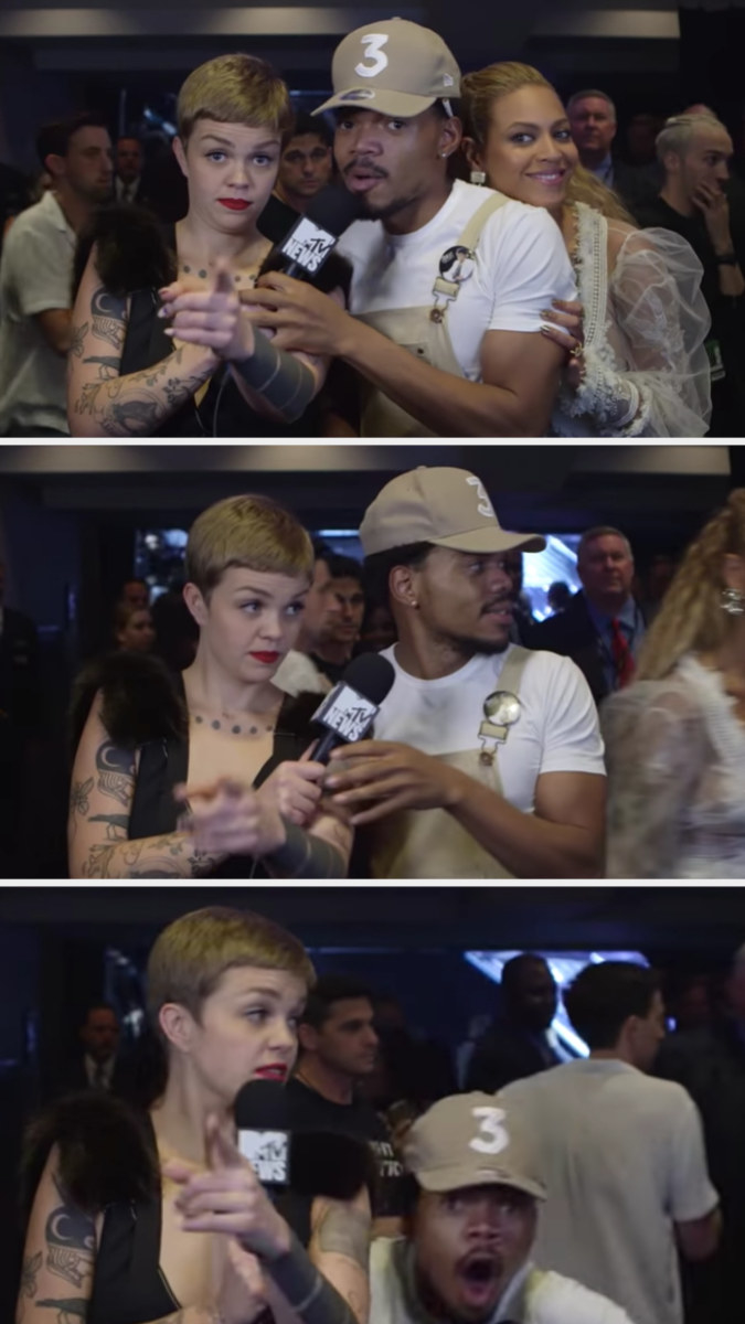 Beyoncé surprising Chance the Rapper during an interview and him freaking out