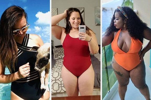 在穿着黑色泳衣的左模型,在中间评论家穿着红色泳衣,以及穿着V领橙泳衣的右审稿人