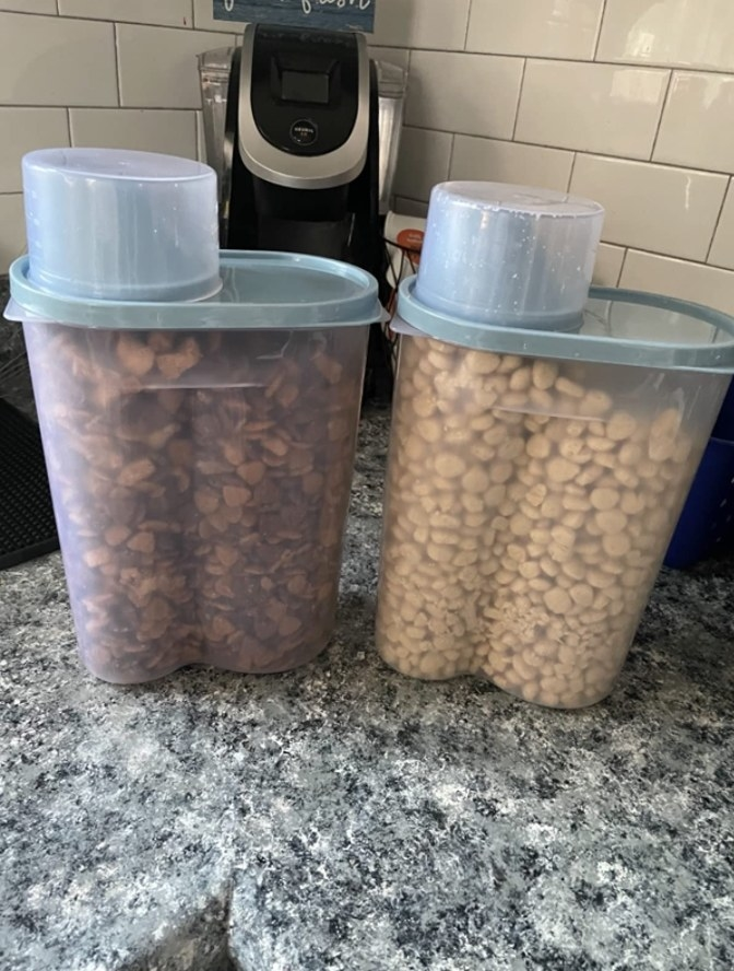 Pet food in a clear container