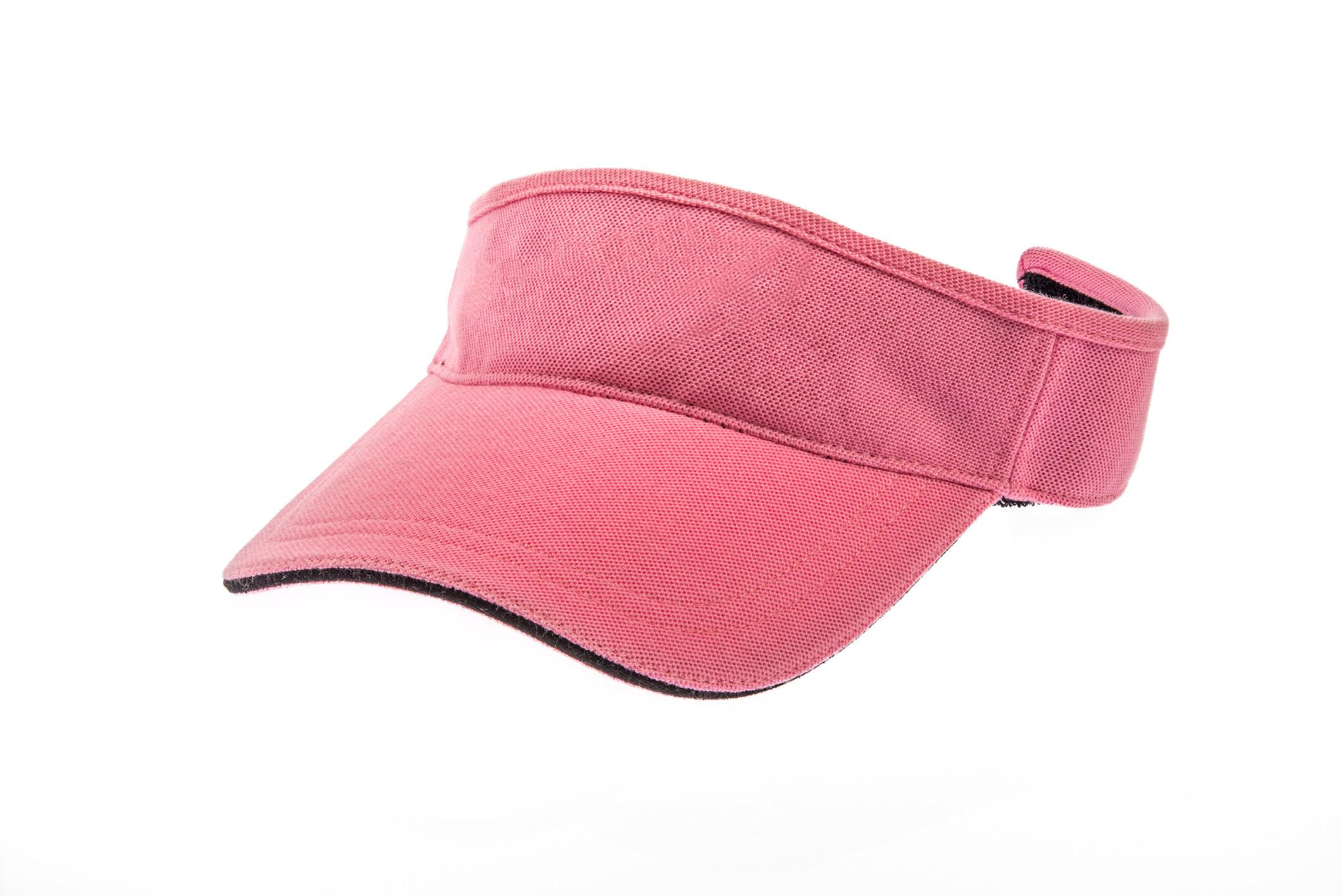 A pink visor hat